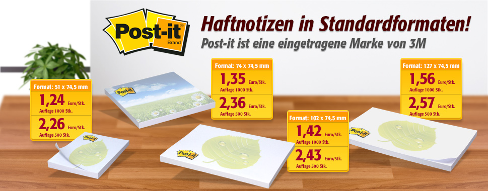 Post-it® Haftnotizen in Standardformaten - hier klicken